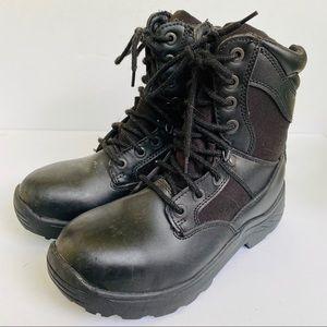 BRAHMA Swat Black Leather Steel Toe Work Boots
